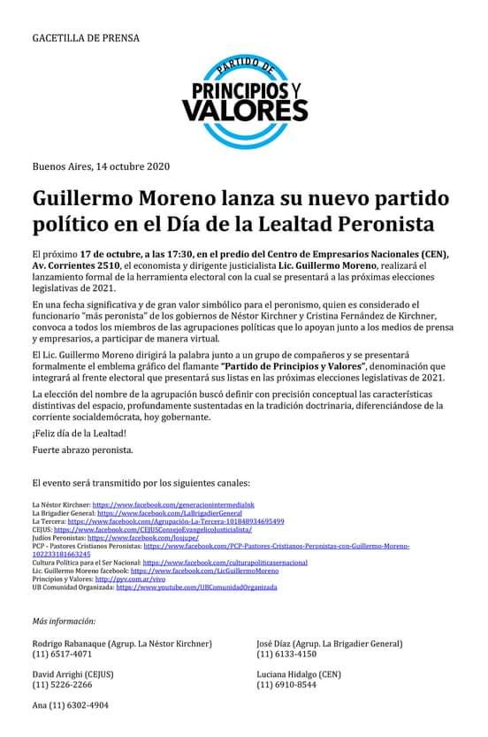 GUILLERMO MORENO YA TIENE SU PARTIDO POLITICO.